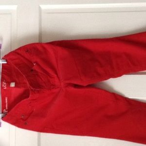 Pants - Skinny cords in red